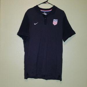 Nike USA Team Polo Shirt Black Grey Striped XXL
